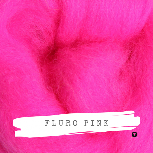 Ashford Fluro Corriedale Rovings available for sale on Wool Craft - Pink